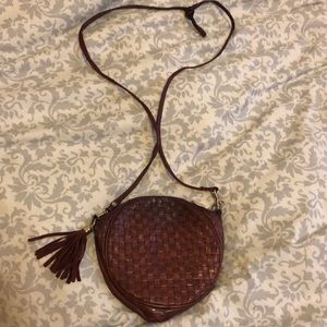 Vintage Topshop round canteen bag brown leather